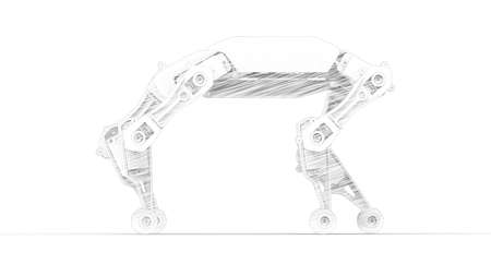 3D rendering of a robot animal sketch like style isolated on white background
