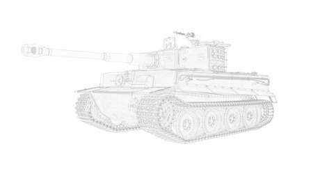 3D rendering of a world war two tank isolated on white background
