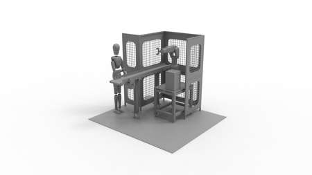 3D rendering of a factory assembly line worker dummy on a conveyor belt, with robotic assistance.