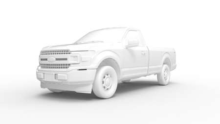 3D rendering of a pick up truck isolated on white background Foto de archivo