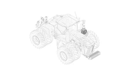 3D rendering of a tractor with double wheels vehicle isolated on white background. Foto de archivo