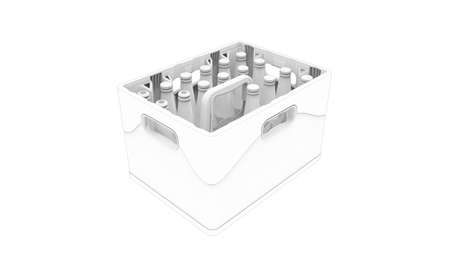 3D rendering of a crate of beer packaging mock up template isolated. Foto de archivo