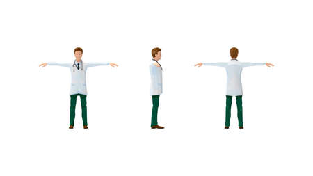 3D rendering of a medical specialist doctor cartoon isolated on white background