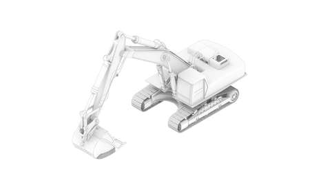 3D rendering of an excavator model isolated on a white background