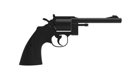 3D rendering of a revolver pistol isolated on a white background