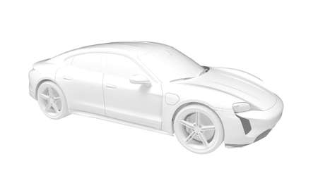 3d rendering of a sports car hybrid electric isolated on white background. Foto de archivo