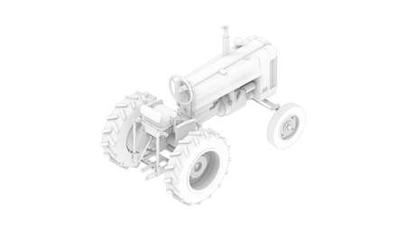 3D rendering of a vintage tractor vehicle agriculture machine is