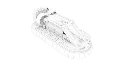 3D rendering of a hovercraft vehicle isolated on white background