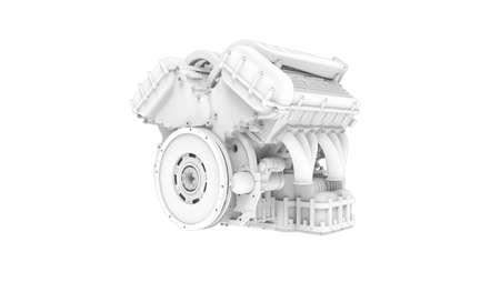 3D rendering of an engine technical components isolated on white background Foto de archivo