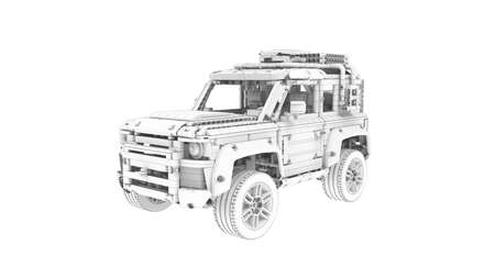 3D rendering of a all road terrain vehicle as a toy technical building blocks