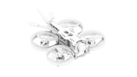 3D rendering of a race quad drone cinematic footage tool computer model on white background.