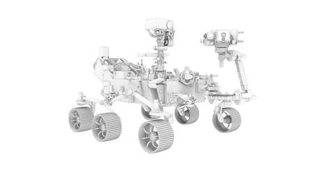 moon Mars space vehicle 3D rendering computer model isolated on white background