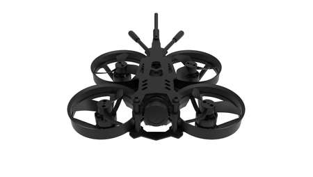 3D rendering of a race drone cinematic footage tool computer model on white background. Foto de archivo