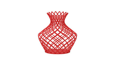 3D rendering of a 3d printed vase complex shaped and colored isoalted on white background.
