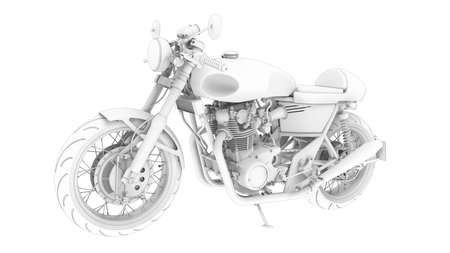 3D rendering of a motorcycle motor bike computer model on white background Standard-Bild