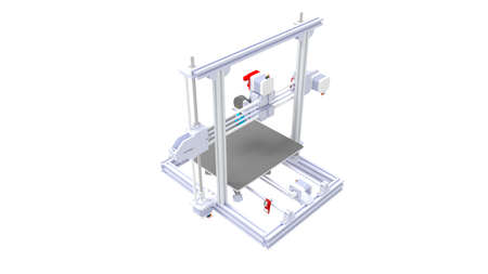 3D rendering of a small consumer 3d printer isolated on a white background Standard-Bild