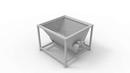 3D rendering of a hopper feeder manufacturing installation machine, isolated on white background Standard-Bild