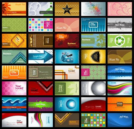 Variety of horizontal business cards
