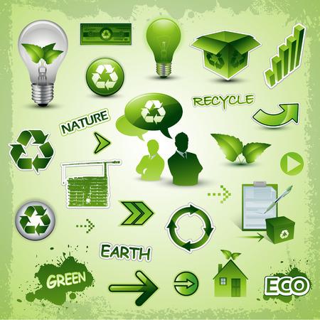リサイクルと環境アイコン  イラスト・ベクター素材