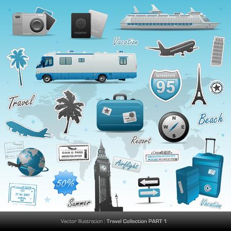 timbre voyage: Icônes de voyage.