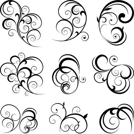 スワール: 抽象的な花飾りのパターン  イラスト・ベクター素材