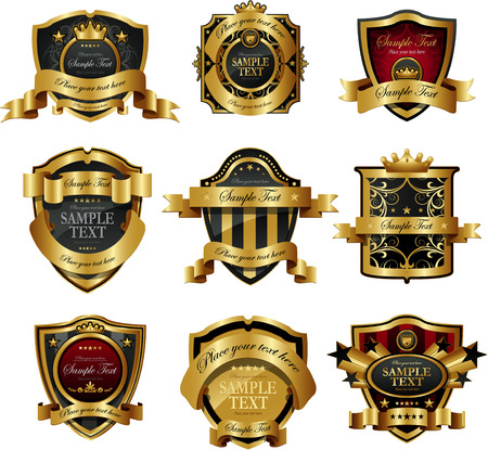 coats of arms: Decorative golden ornate labels