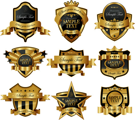 badge ribbon: Decorative ornate golden vector frames Illustration