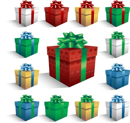 green bow: Christmas gift boxes collection