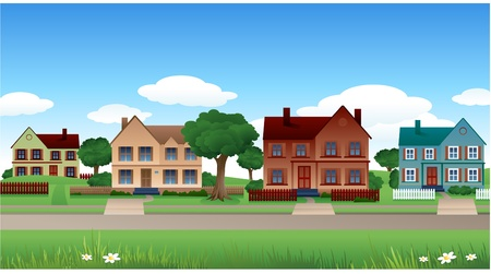 summer house: Calm city background
