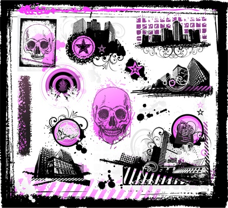 Grunge emo icons Vector