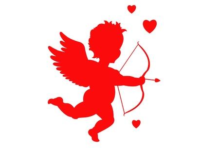 couple lit: Silueta de Cupido de vector