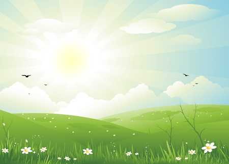 Beautiful spring landscape background Ilustracja