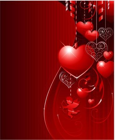 Red Valentijnsdag achtergrond Stock Illustratie