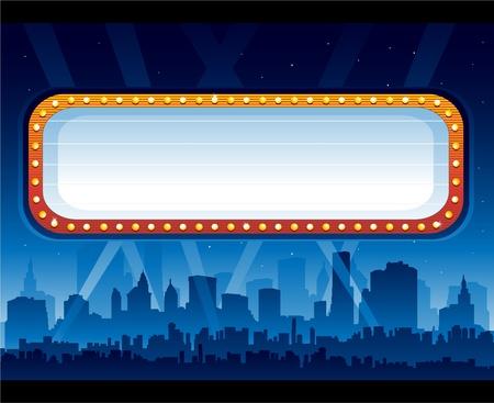 Movie billboard neon city at night