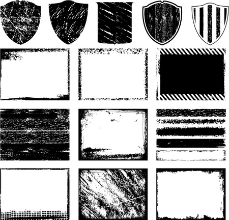 collection of grunge textures design Vector