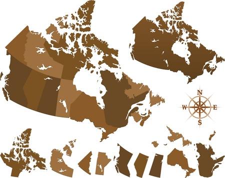 Carte géographique de canada en couleur brune Vecteurs