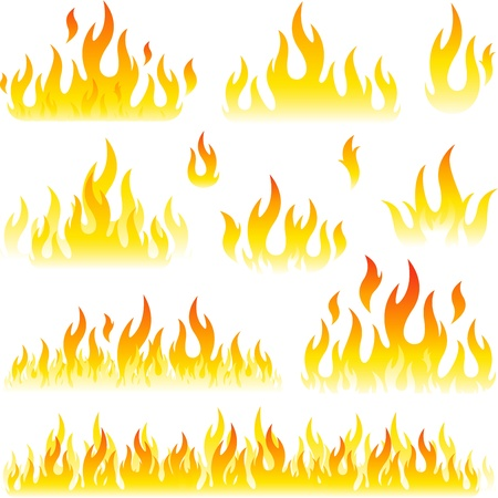 Fire graphic elements on white