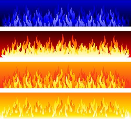 bombero de rojo: conjunto de banners de fuego  Vectores