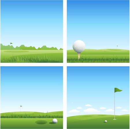 putting green: four golf nature background