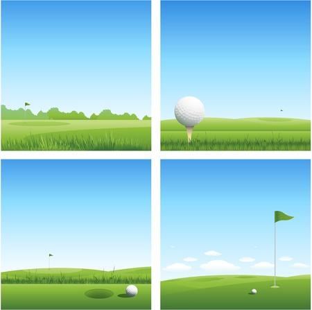golf drapeau: quatre golf nature arri�re-plan Illustration