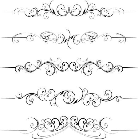設定のカリグラフィ設計とスクロール形状区切りページ  イラスト・ベクター素材