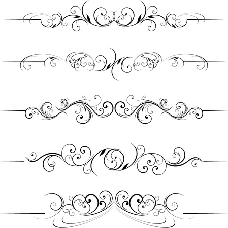 set calligraphic design and scroll shape page dividers