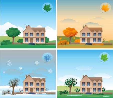 quatre saisons: fond de quatre saisons Illustration
