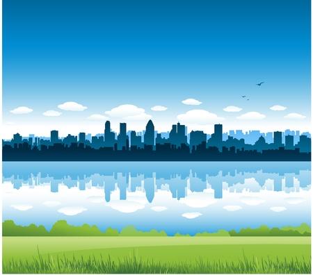 モントリオール市の風景  イラスト・ベクター素材