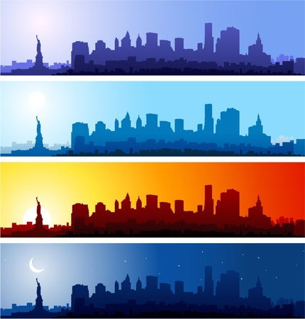 panoramic view: New York city skyline at different time of the day