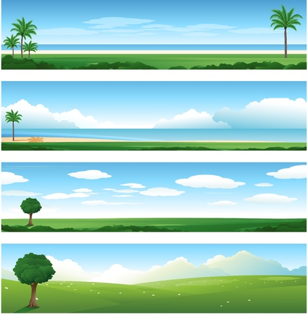 Four differents nature landscape Illustration