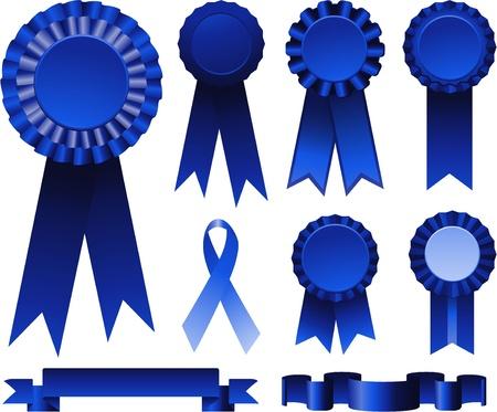 Blue ribbons collection set  イラスト・ベクター素材