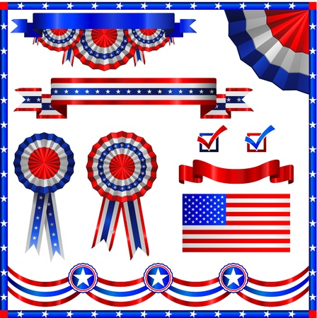 Amerikaanse patriottische vlaggen en linten Stock Illustratie