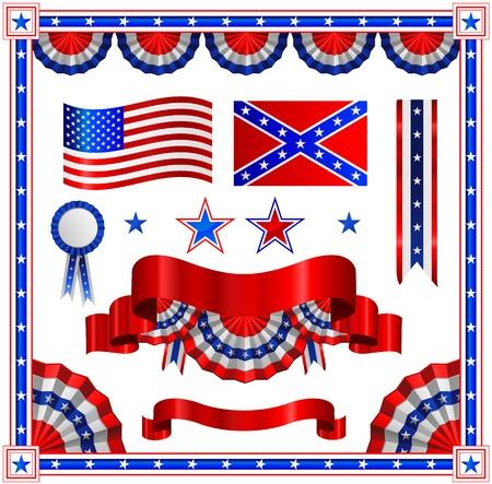 Vector Amerikaanse patriottische collectie set Stock Illustratie