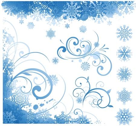 silver background: Winter design elements